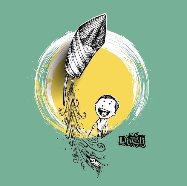 Мальчик летит на ракете - индийский фестиваль дивали. - рисованный эскиз, векторный фон.