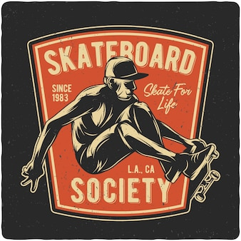 Boy flying on skateboard
