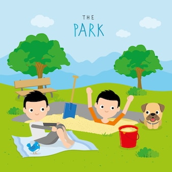 Boy and friend play activity relax at park cartoon character