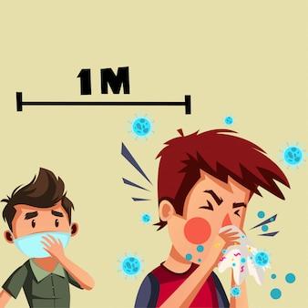 Мальчик получает беспокойство и имеет социальную дистанцию с человеком, который чихнул