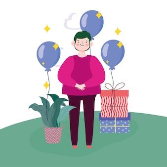 Мальчик подарочные коробки воздушные шары и растения в траве векторные иллюстрации