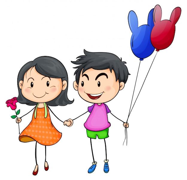 A boy and a gir holding hands