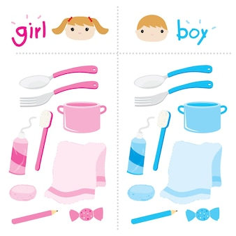 Boy girl appliance private vector cute cartoon design