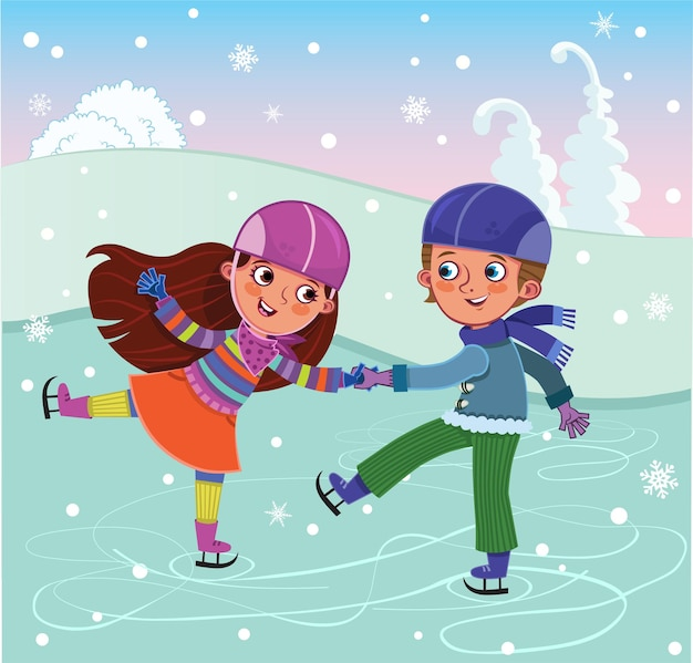 A boy and a girl are skating vector illustration