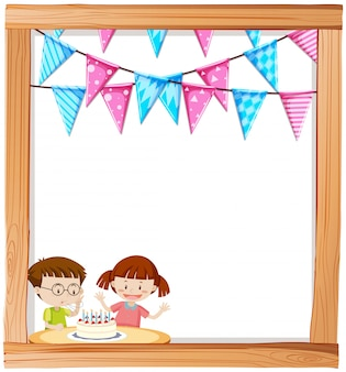 Boy and girl on birthday frame background