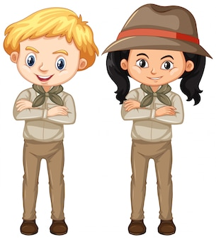 Boy and girl in brown uniform