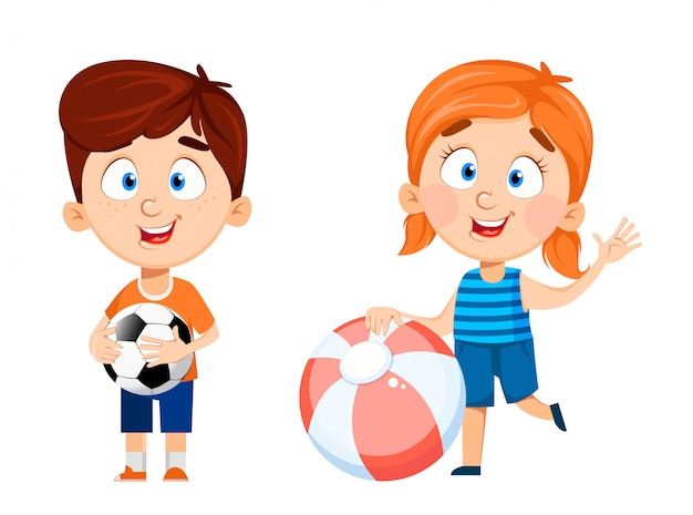 Boy and girl cartoon characters, set of two poses