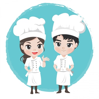 Boy and girl chef cartoon characters stand post professional