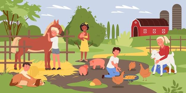 말 옆에 서서 먹이를 주는 귀여운 돼지를 안고 있는 소년 소녀 어린이 캐릭터