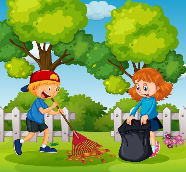 Boy and girl cleaning garden