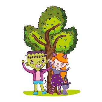 Boy and girl costume with cat and tree