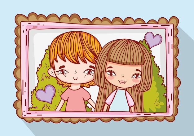 Boy and girl couple in the picture with hearts