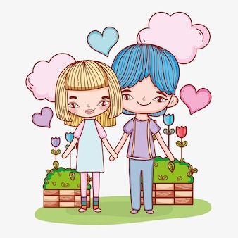 Boy and girl couple with clouds and hearts