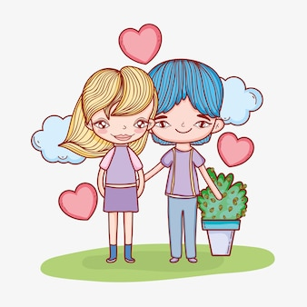 Boy and girl couple with clouds and plant