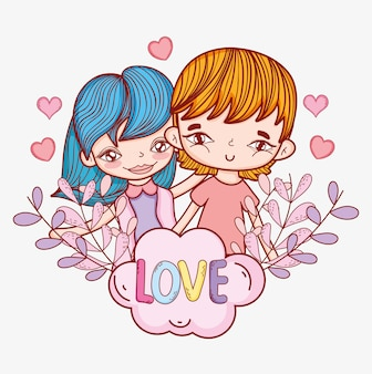 Boy and girl couple with hearts and plants