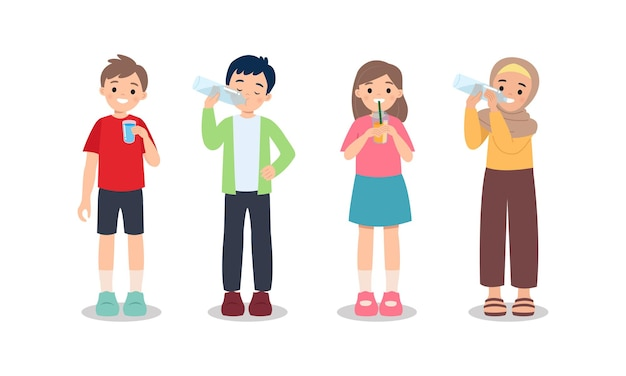 Boy and girl drinking water from glass and plastic bottle. healthy lifestyle concept. stay hydrate. flat  clip art isolated on white.