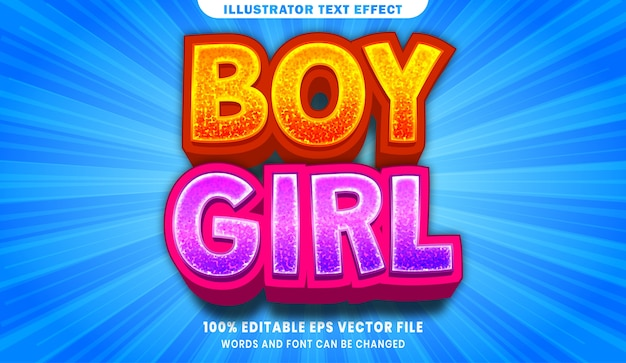 Boy and girl editable text style effect