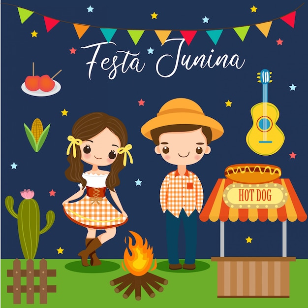 Boy and girl and elements for festa junina