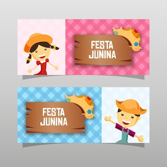 Boy and girl festa junina banner