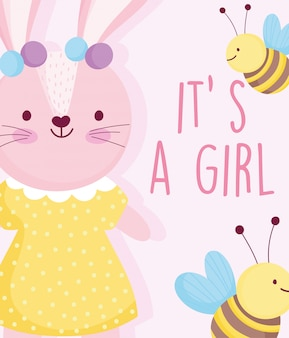 Boy or girl, gender reveal cute rabbit with dotted dress bees card