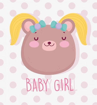 Boy or girl, gender reveal its a girl cute bear with hair card