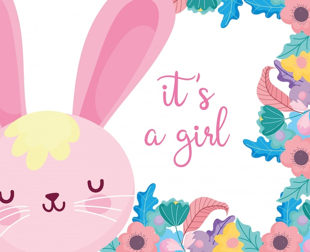 Boy or girl, gender reveal its a girl cute rabbit flowers decoration card Premium Vector