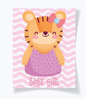Boy or girl, gender reveal its a girl cyte tiger card Premium Vector