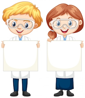 Boy and girl holding blank paper