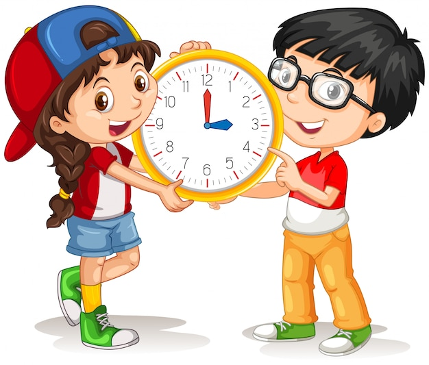 Boy and girl holding clock