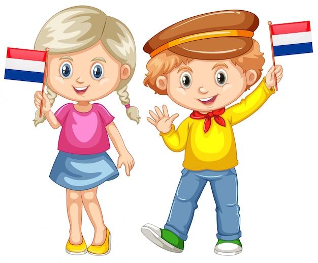 Boy and girl holding flag of netherland