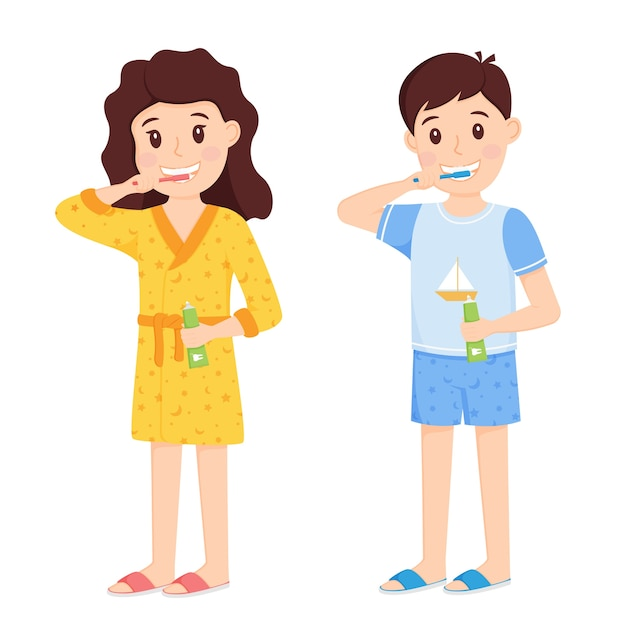 Boy and girl in home clothes brushing their teeth
