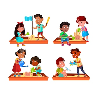 Boy and girl kids playing in sandbox set