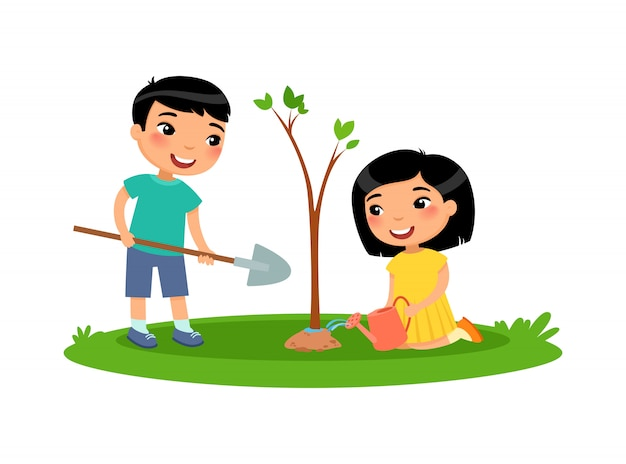 Boy and girl planted a tree