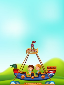 Boy and girl playing pirate boat