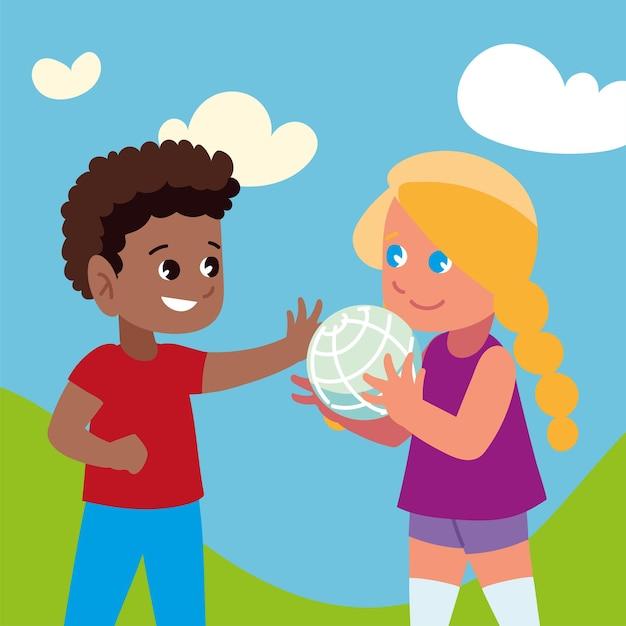 Мальчик девочка играет с мячом