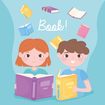 Boy and girl read books learn and academic education design