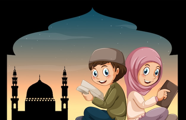 Boy and girl reading bible at mosque