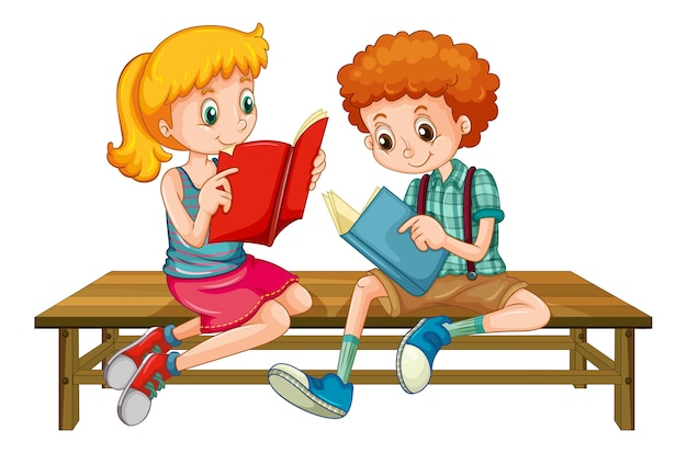 Boy and girl reading a book