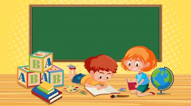 Boy and girl reading books in classroom