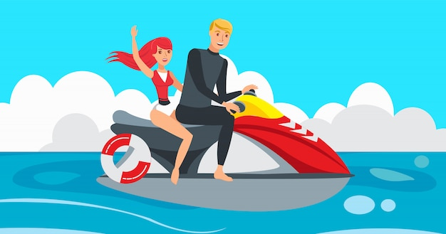 Boy and girl riding jet ski