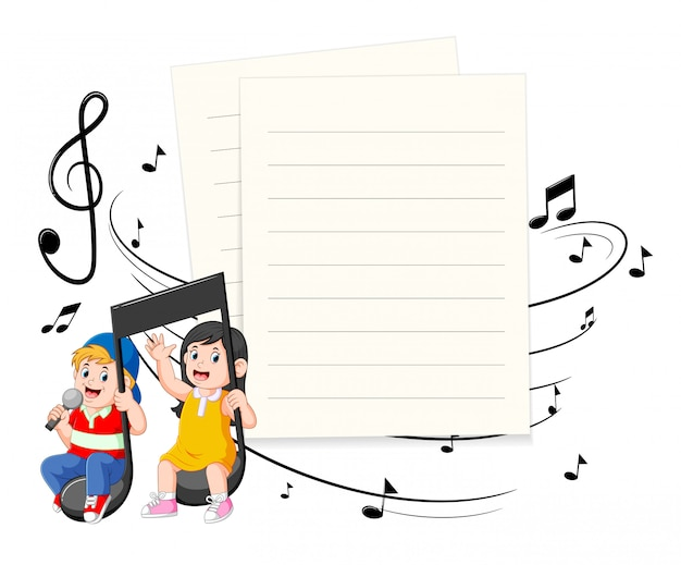 Boy and girl riding music notes with paper blank background