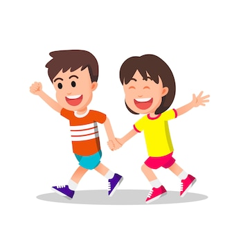 Boy and girl running together holding hands