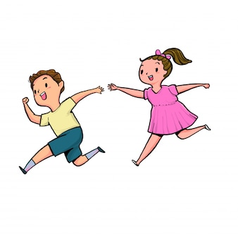 The boy and girl running together.