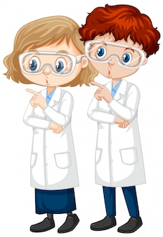 Boy and girl in science gown on isolated illustration