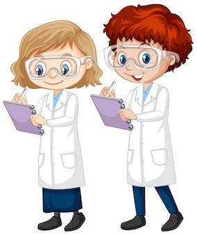 Boy and girl in science gown on isolated