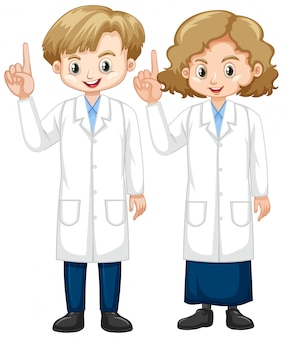 Boy and girl in science gown pointing finger up