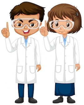 Boy and girl in science gown standing isolated