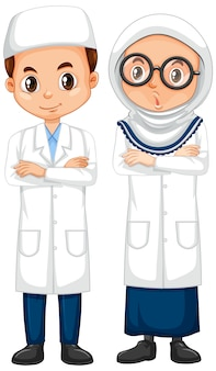 Boy and girl in science gown standing on white background