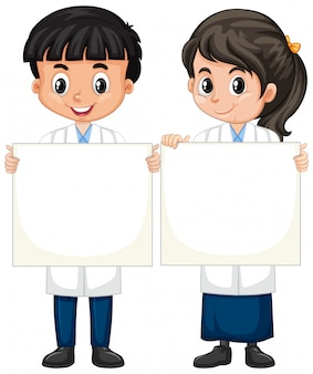 Boy and girl in science gown standing on white