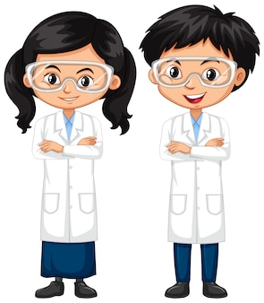 Boy and girl in science outfit